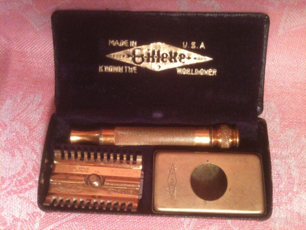 VTG 1930'S GOLD DOUBLE EDGE TWIST OPEN GILLETTE RAZOR W/ORIG BOX   #Gillette