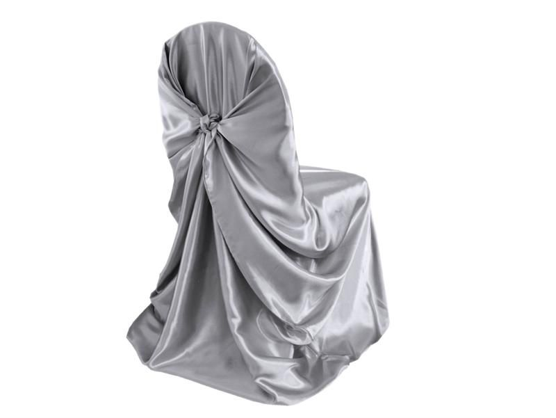 silver universal satin chair cover for wedding banquet party decor