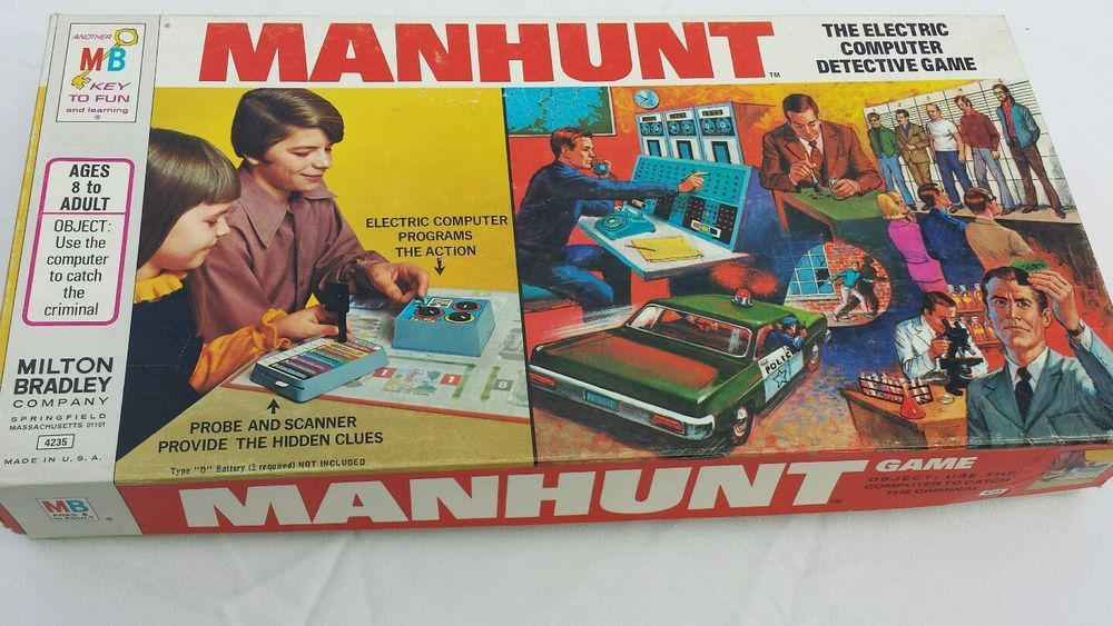 Vintage 1972 MANHUNT Electric Computer Detective Family Board Game MB Complete!!  | eBay