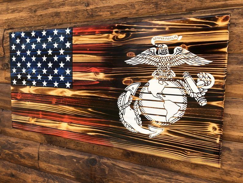 Marine's EGA Rustic American Flag Wall Plaque, Rustic American Flag, Marine Handmade Wooden Flag, Military Rustic American Flag, Wooden Flag