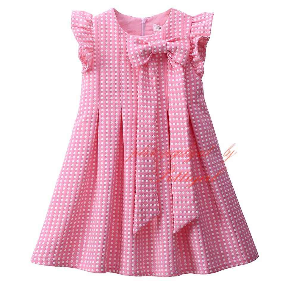 Pettigirl hot sale pink cute dot girls summer dresses with bow belt