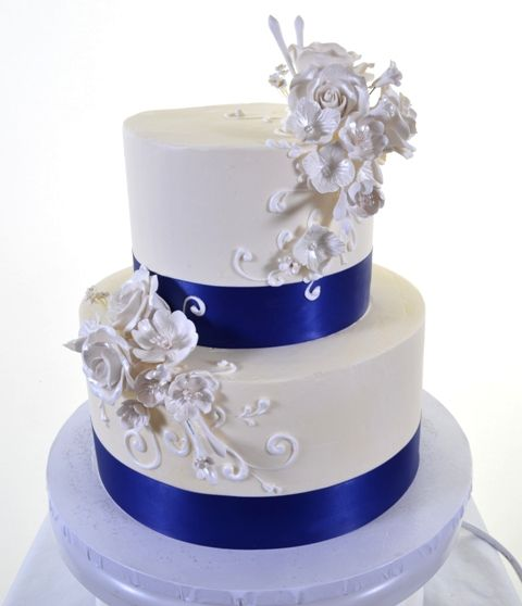 Royal Blue Cake Images : Pastry Palace Las Vegas - cake 1436 - White Roses & The ...
