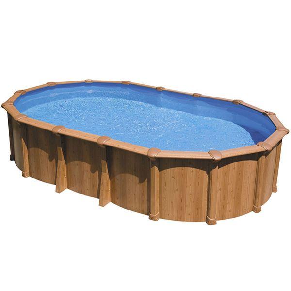 Piscine aspect bois en acier ovale  - piscine hors sol beton aspect bois