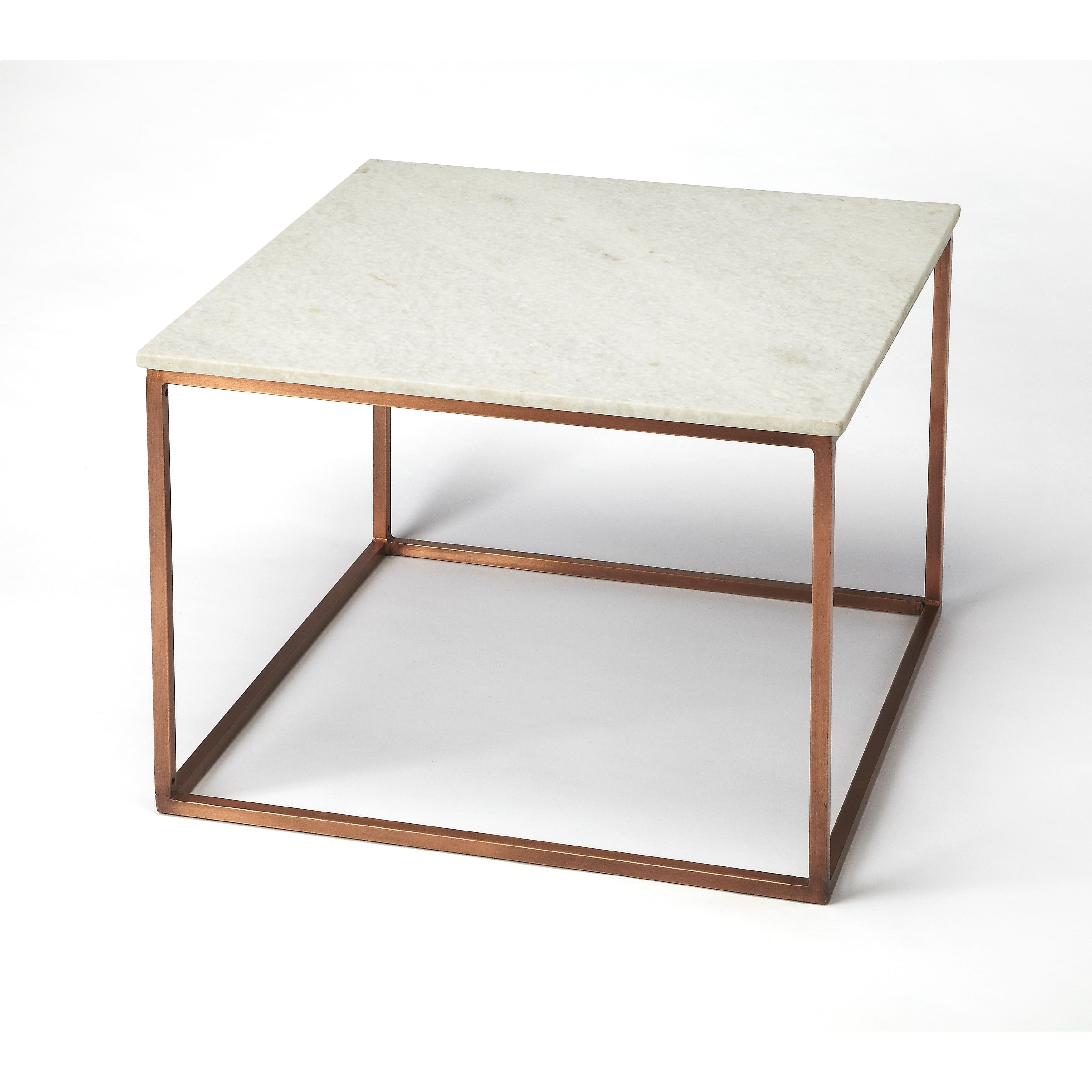 butler holland copper brown metal coffee table with marble top