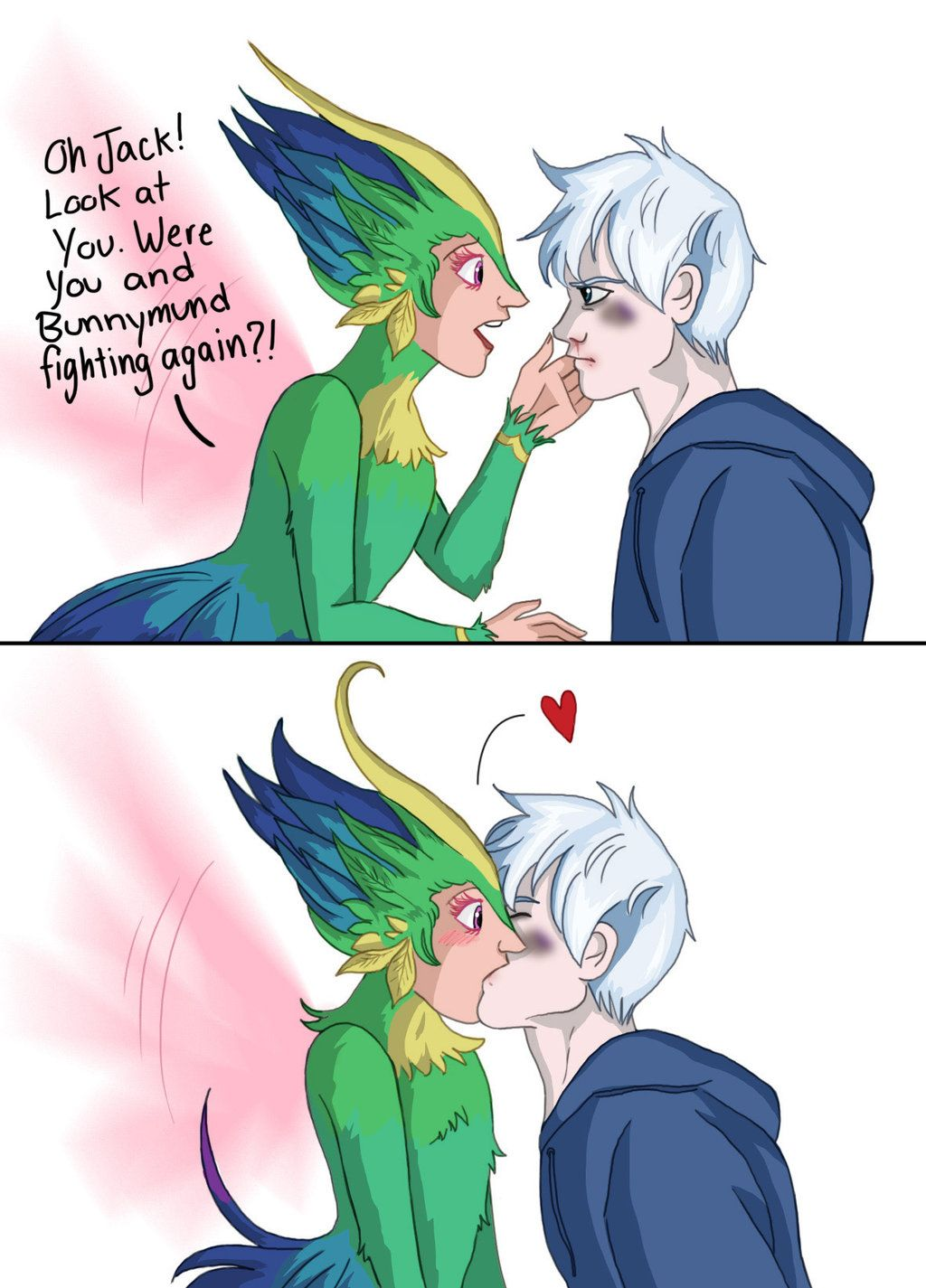 Jack Frost gives Toothiana a surprise kiss | Jack frost
