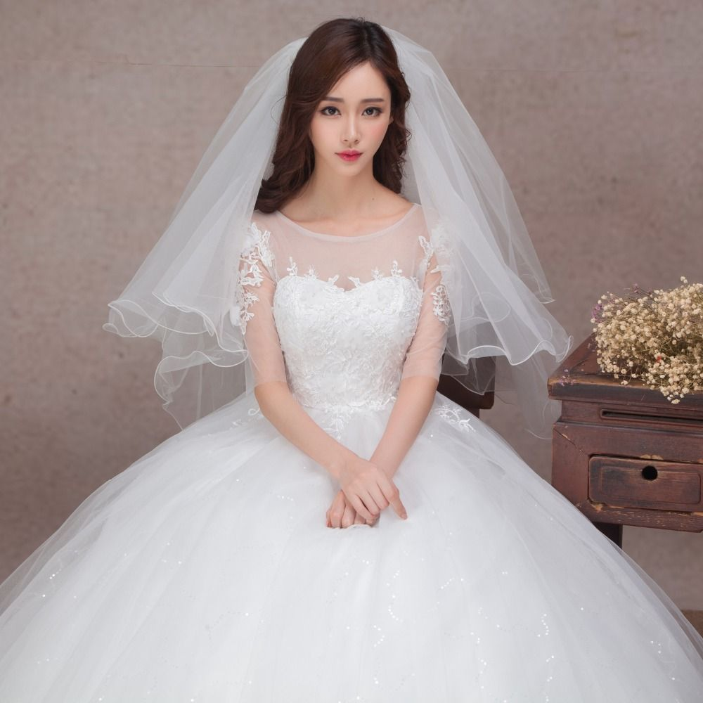 Korean wedding shoulders new spring qi lace out of yarn sleeve