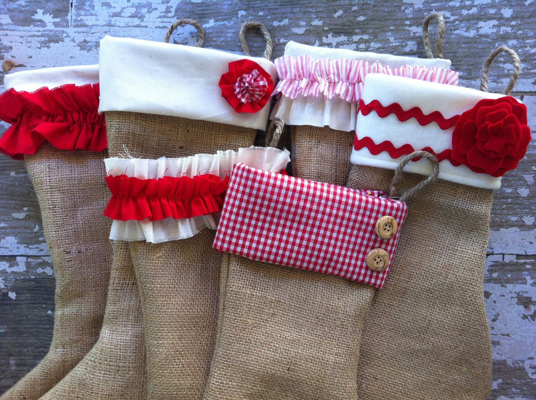 Set of burlap christmas stockings burlap stockings shabby chic