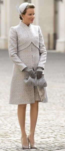 Beautiful coat and hat worn by Belgian royalty, Queen Mathilde of Belgium in Rome.