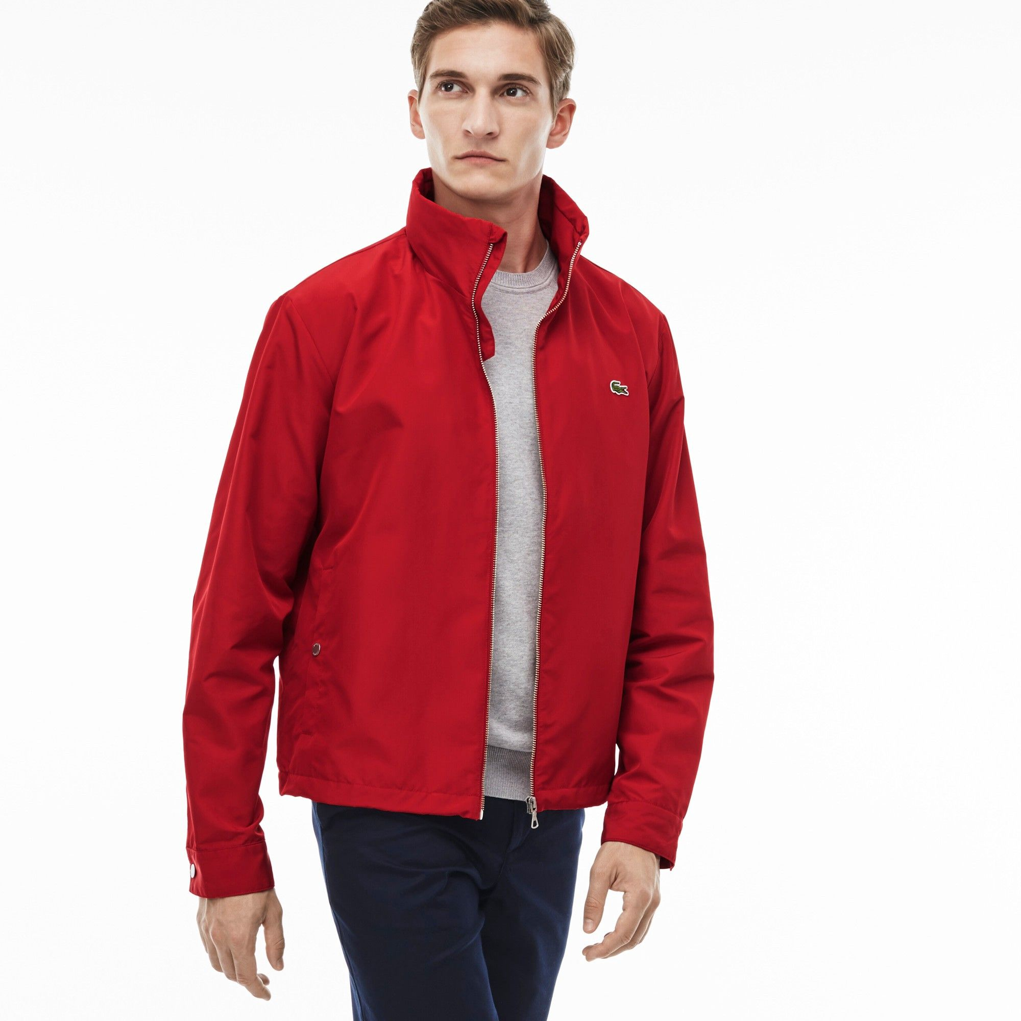 ed502dbef6 LACOSTE Men's Unicolor Nylon Contrasting Accents Hooded Zippered ...
