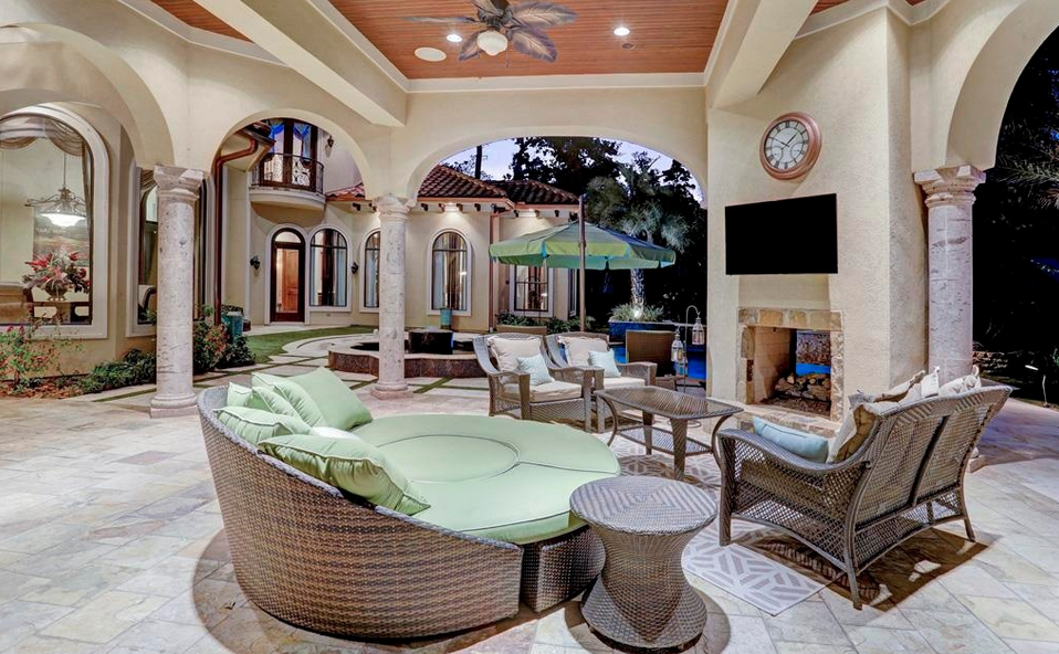 [divide] Location: 6 N Fazio Way, Spring, TX Square Footage: 10,309 Bedrooms & Bathrooms: 7 bedrooms & 10 bathrooms Price: $3,000,000 This Mediterranean style mansion is located at 6 N Fazio Way in the gated community of Carlton Woods in Spring, TX and