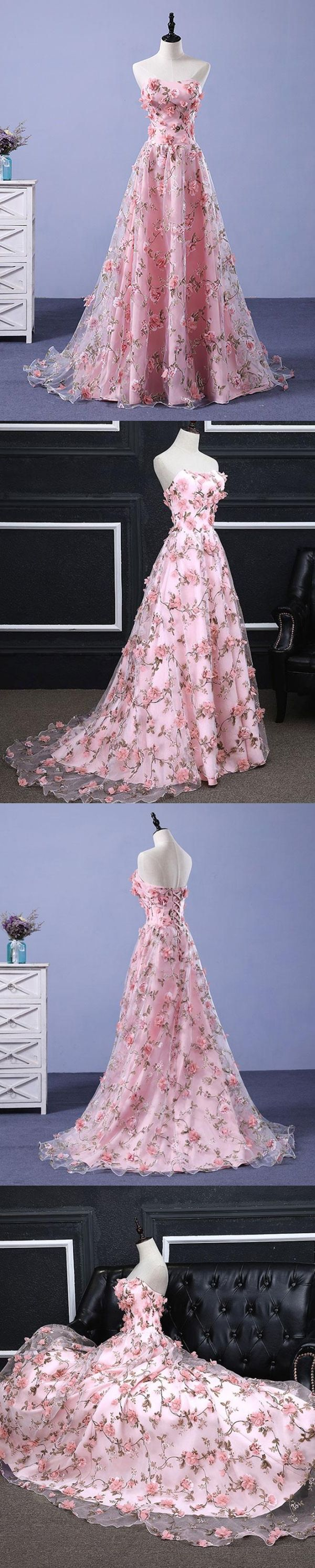 Pink prom dresses aline sweetheart sweep train floral print long