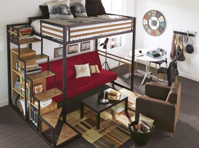 10 solutions pour am nager le dessous d un lit mezzanine interior pinterest lits mezzanine. Black Bedroom Furniture Sets. Home Design Ideas