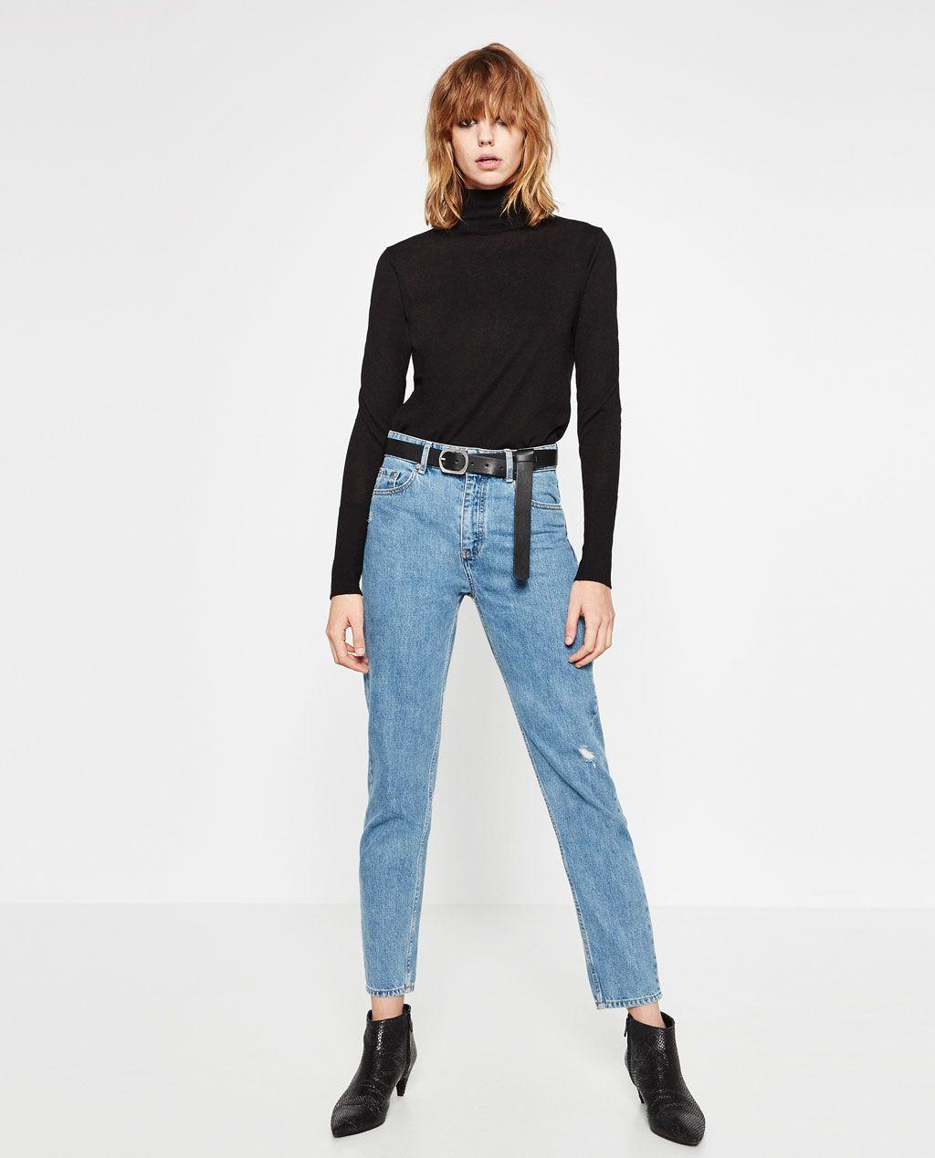 jeans mom fit tiro alto zara women jeans women and zara. Black Bedroom Furniture Sets. Home Design Ideas