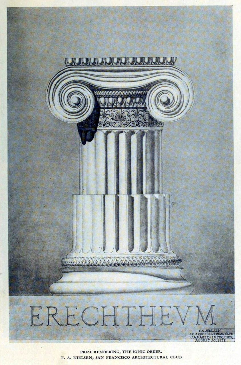Drawing of an ideal Ionic column, 1928 | Ionic Order Inspiration ...
