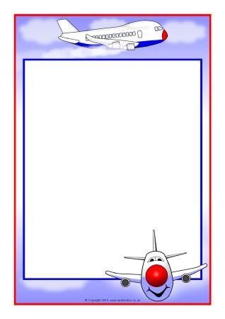 Aeroplane A4 Page Borders Sb11443 Sparklebox First Tablero