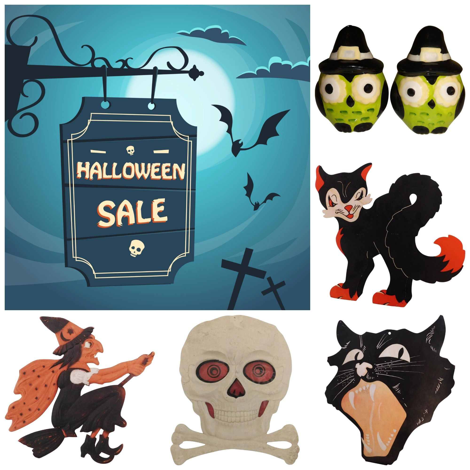 Vintage Halloween Decorations At Ruby Lane Rubylanecom Rubylane Witches Goblins