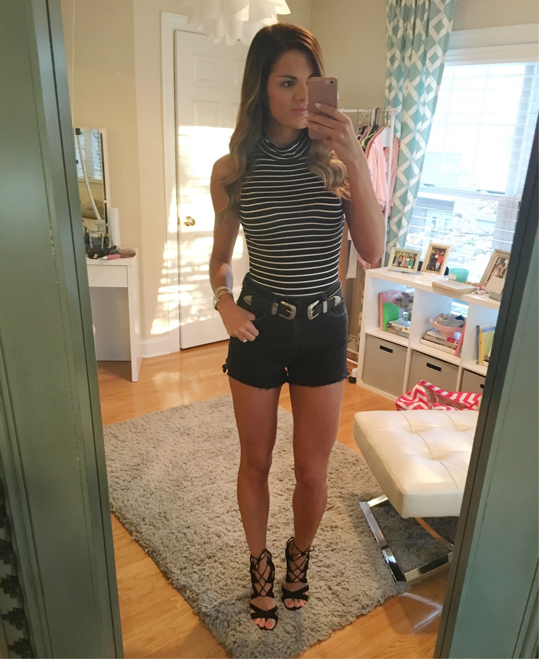 Another Saturday #ootn Wore this striped bodysuit and these high ...