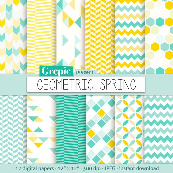 "Geometric digital paper: ""GEOMETRIC SPRING"" digital paper pack with yellow and teal / turquoise geometric patterns and backgrounds"