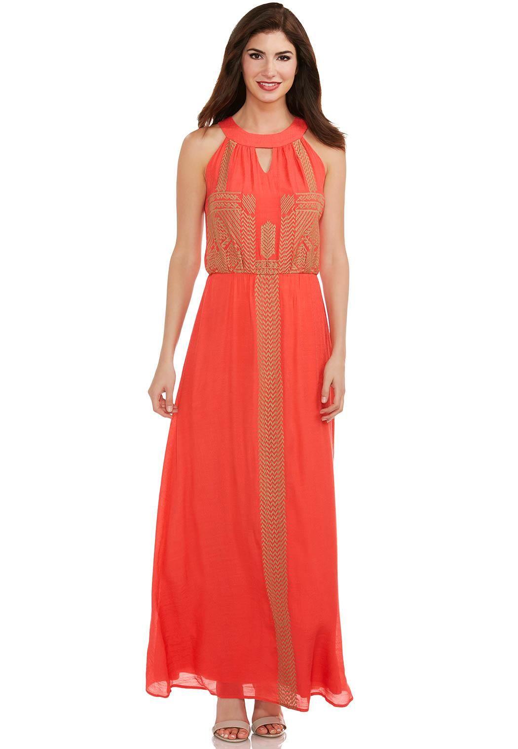 bdb0b7e6a8c Tribal Embroidered Halter Maxi Dress Dresses Cato Fashions