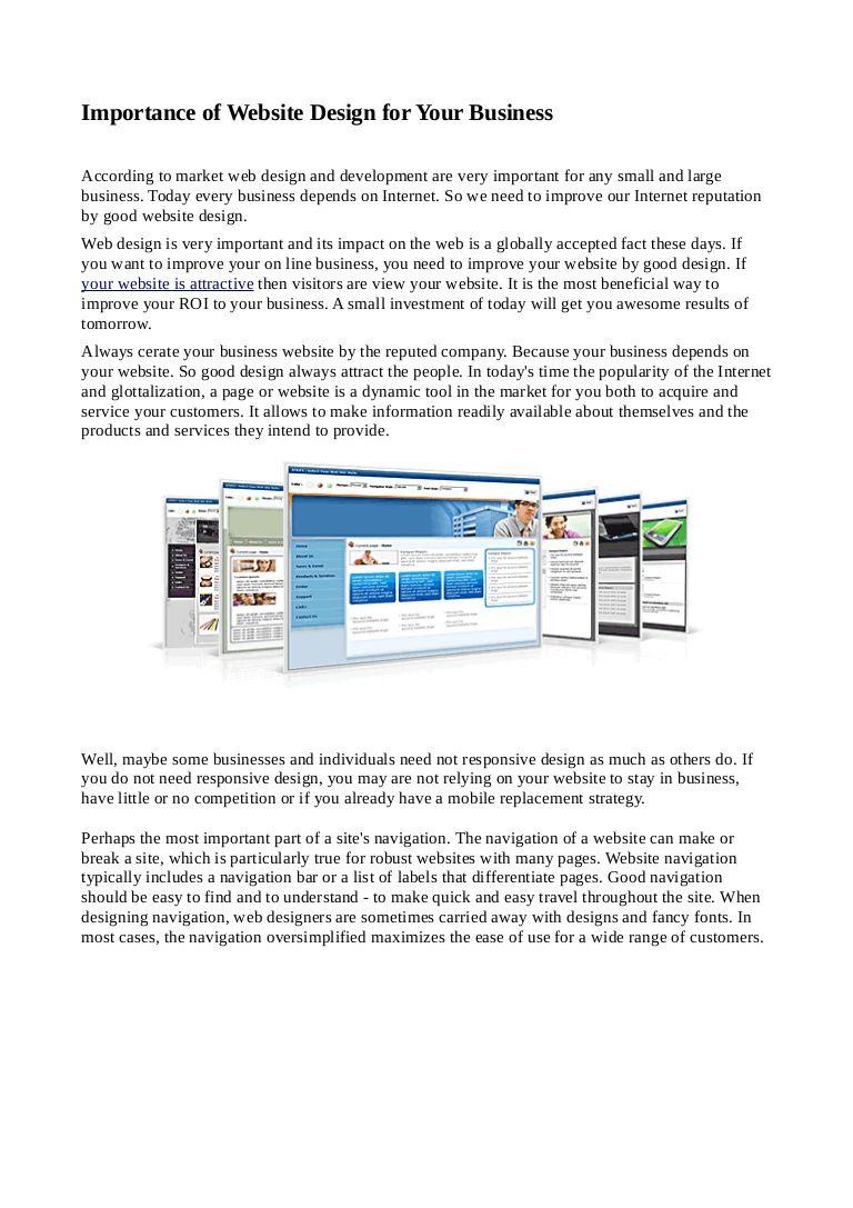 Importance Of Website Design For Your Business By Manish Shrimal Via Slideshare Web Development Design Website Design Web Design