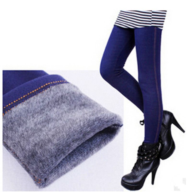 Winter Leggings Women Warm Fleeces Leggings Solid Thicken Footless Legging Faux Denim Pants Dd8029 Celana Musim Dingin