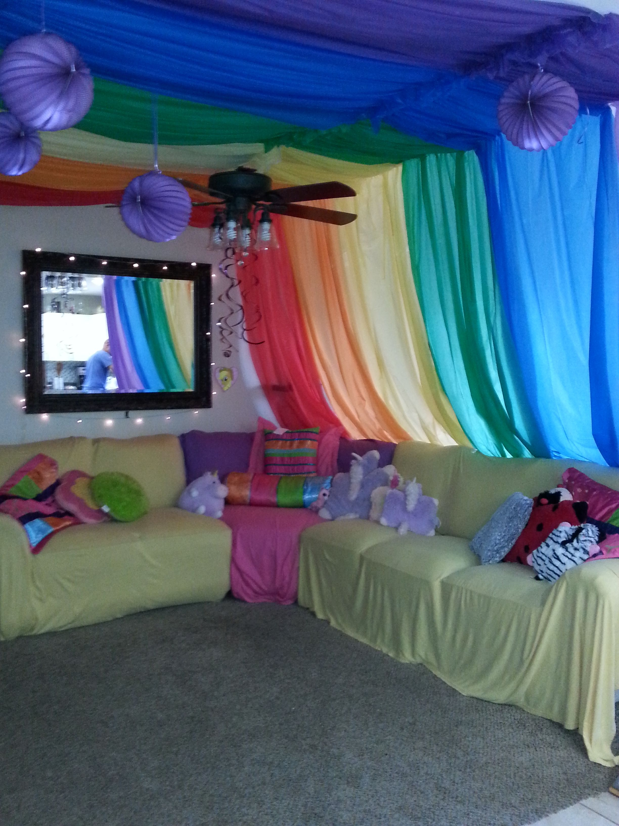 rainbow unicorn sleepover party threw down air mattresses with