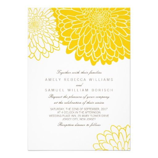 Modern Wedding Invitation featuring Yellow graphic Chrysanthemum flowers on a white background ...