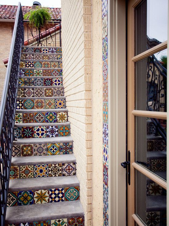 Decorating Mediterranean Side House Staircase With Floor Tiles | Staircase Side Wall Designs Tiles | Decorative | Unusual | Wall Painting | Front House | Modern