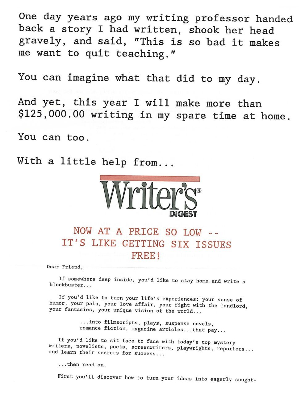 My direct mail sales letter for Writer's Digest magazine