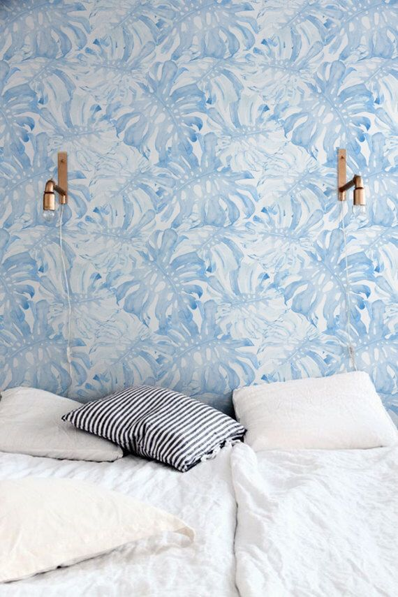 Removable Wallpaper With Baby Blue Monstera Leaves Pattern Etsy Tropical Wall Decals Nursery Wallpaper Removable Wallpaper