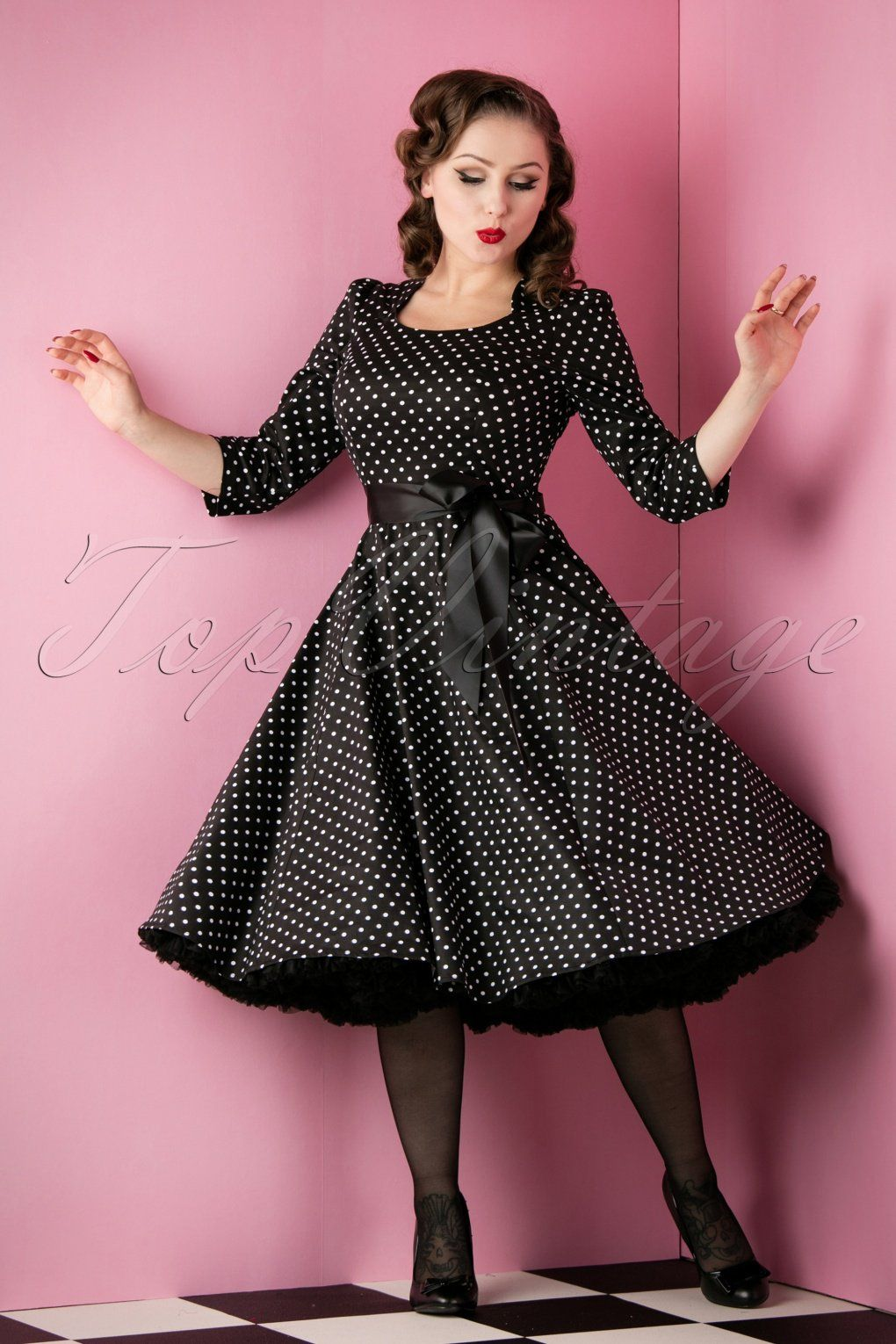 f1bffa46fb404 50s Sofie Polkadot Swing Dress in Black And White | Vintage Style ...