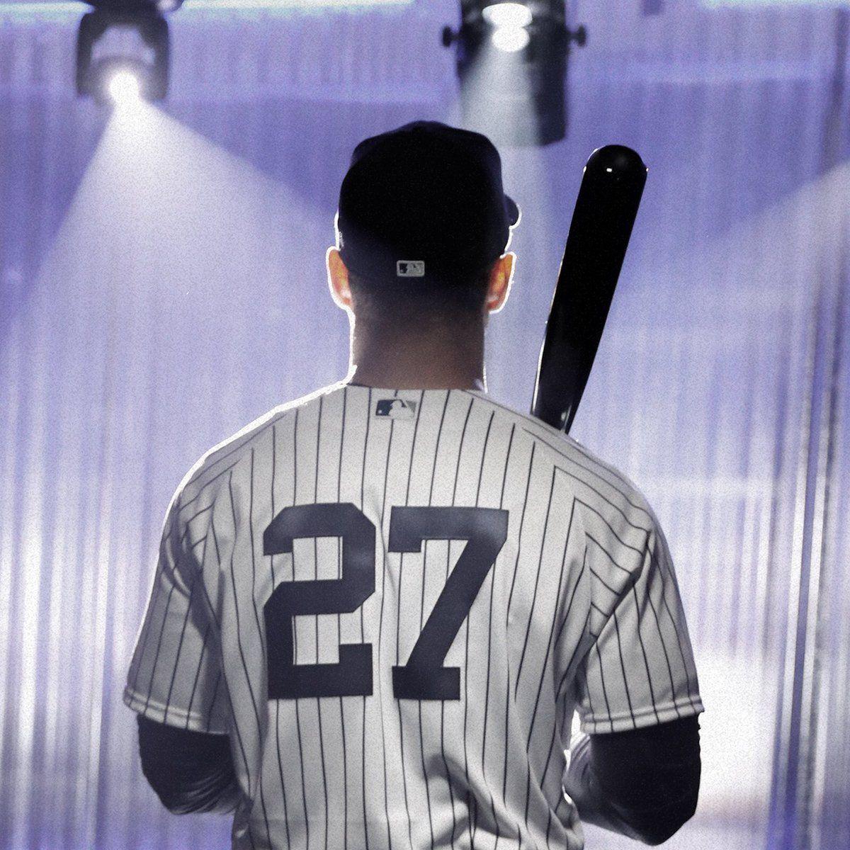 New York Yankees Verified Account Yankees Feb 18 Pinstripes Bright Lights Giancarlo Stanton 1 New York Yan With Images New York Yankees Yankees Giancarlo Stanton