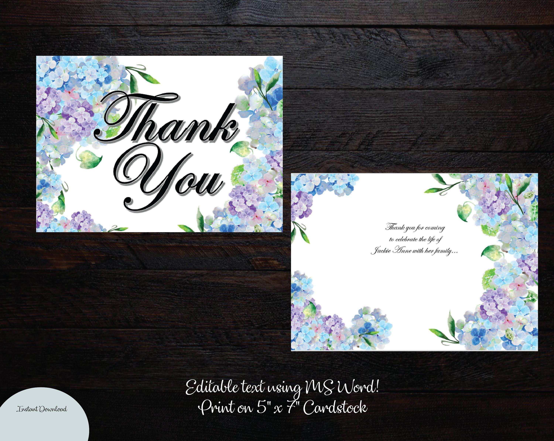 Printable Diy Funeral 5 X 7 Thank You Card Memorial Thank You