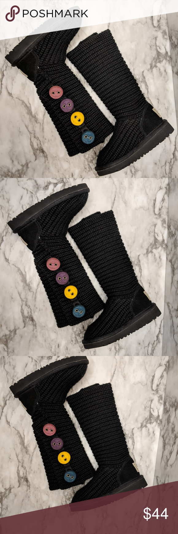 Ugg Boots Kid Cardy Classic Knit Sweater Rainbow Ugg Boots Kid - H17 Sz 8 Little Girl Black Cardy Classic Knit Sweater 4 Button Rainbow good condiiton UGG Shoes Boots #uggbootsoutfitblackgirl