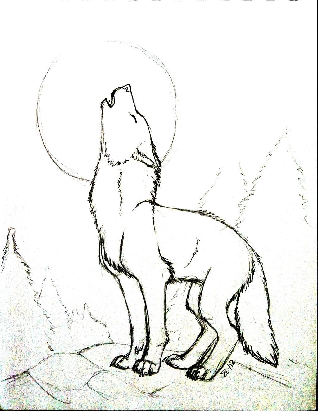 Uncategorized How To Draw A Howling Wolf pix for drawings of a wolf howling at the moon lino print moon