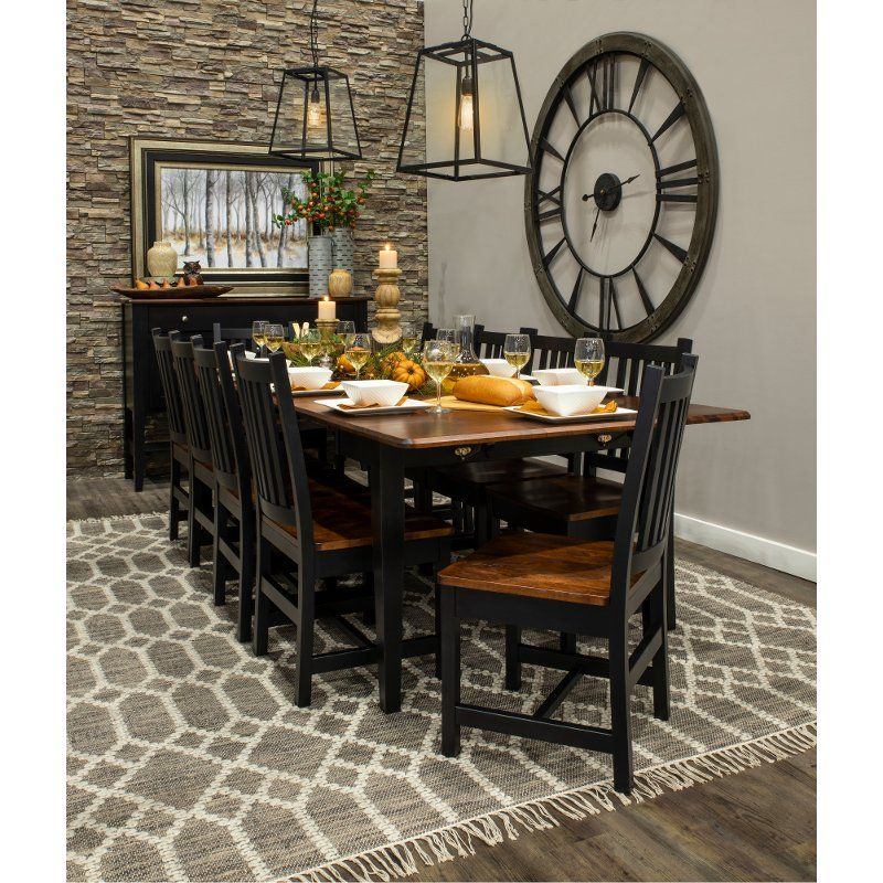 Maple And Black 5 Piece Dining Set With Slat Back Chairs Saber