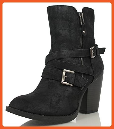 Women's Puff Strappy Buckle Side Zipper Chunky Block Mid Calf Boot Black 5.5 M US