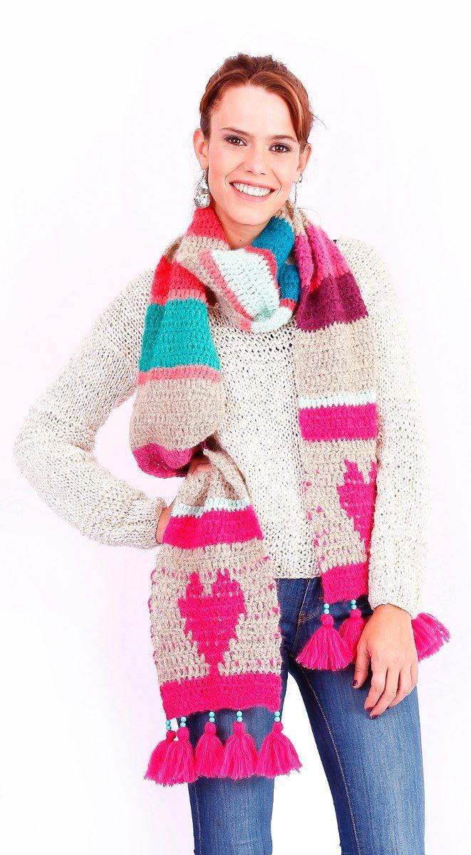 Bufanda Corazon - De Las Bolivianas - Tejida Crochet Lana -   575 7acb8ca554f