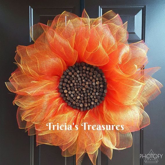 Photo of Red Sunflower Wreath, Deco Mesh Sunflower Wreath, Front Door Wreath, Spring Wreath, Summer Wr…
