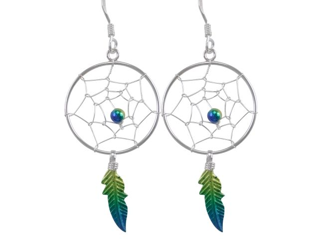 Sterling Silver 36x20mm Yellow & Blue Anodised Single Feather Dream Catcher Drop Earrings