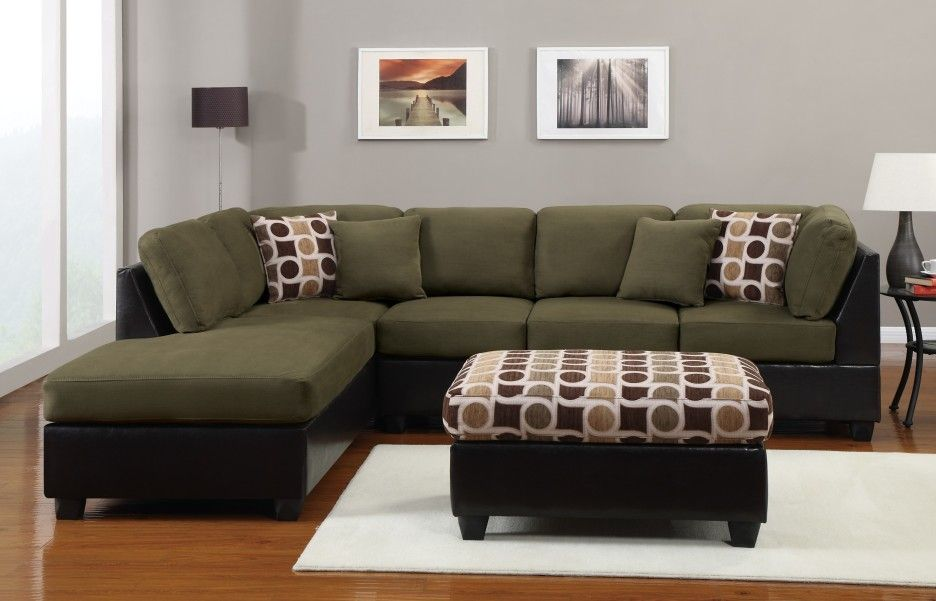 Olive Green L Shaped Couch With Chaise And Cushion Plus Square Ottoman Over White Carpet On Beige Woode Luxury Living Room Decor Green Sofa Indian Living Rooms