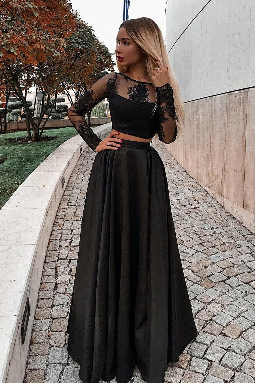 Modest 2 Pieces Black Prom Party Dresses Fashion Long Sleeves Prom Gowns W Prom Dresses Long With Sleeves Prom Dresses Long Black Black Long Sleeve Prom Dress [ 1325 x 883 Pixel ]