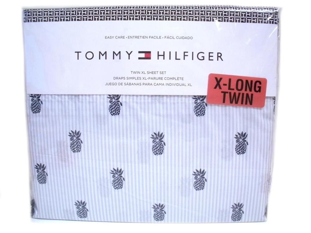 tommy hilfiger twin xl size sheet set tropical pineapples blue stripe extra long