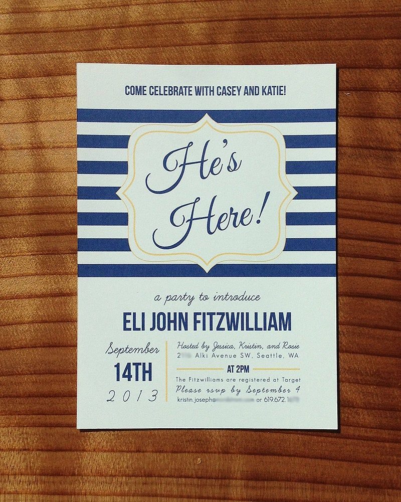 He's Here Baby Shower Meet-and-Greet Invitation | Etsy in 2020 | Welcome  baby party, Baby boy sip and see, Adoption baby shower