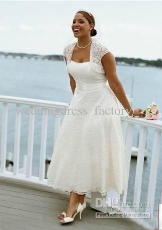 2012 Exquisite Bolero jacket Tea length Strapless Lace Beach Wedding ...