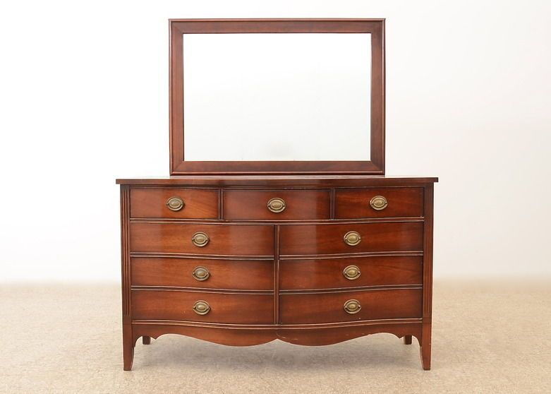 A Federal Style Serpentine Front Dresser By Dixie Furniture. The  Contemporary Mahogany Veneer Dresser Features A Serpentine Front, Six  Half Size Drawers ...