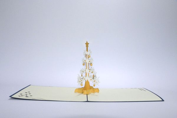 Wonderful christmas wishes with our Popwish christmas card - The white christmas tree