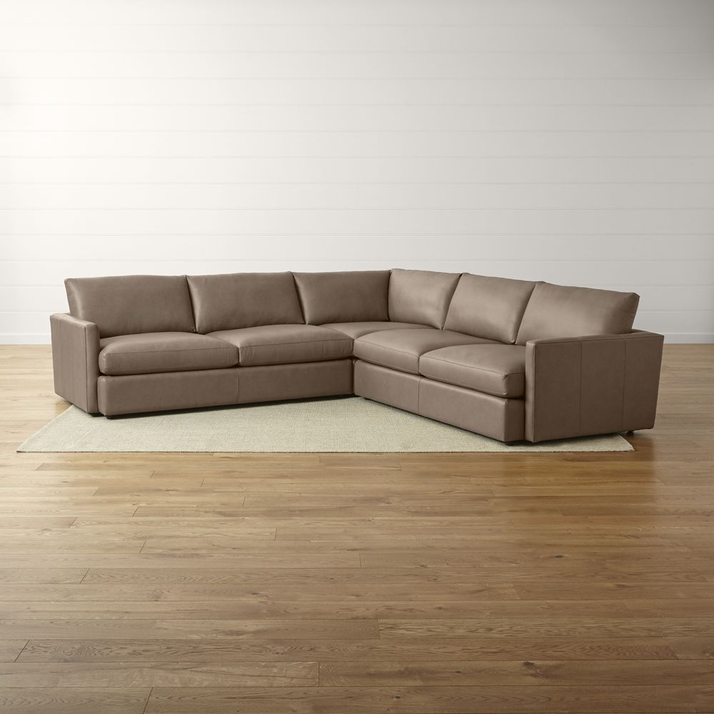 Lounge ii petite leather 3 piece sectional sofa crate and barrel
