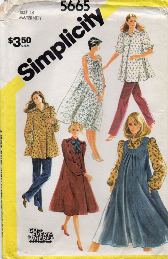 03a29cd34c981 Simplicity 5665 1980s Misses Maternity Jumper Dress Top and Pants vintage  seiwng pattern by mbchills
