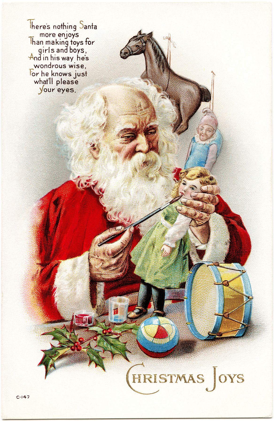 Christmas Toys Cards : Victorian christmas postcard vintage santa illustration